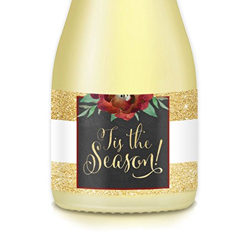 Merry Christmas Office, Home Party Decorations, Guest Favors, Gift Idea, TIS THE SEASON! Set of 20 Sparkling Golden Mini-Champagne or Wine Labels, New Year's Eve Pop The Bubbly! 'Pony' Bottle Decals]()