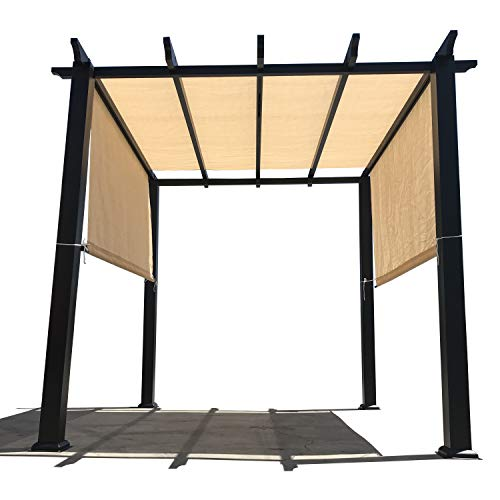 Alion Home Sun Shade Rod Pocket Panel for Patio, Awning, Window Cover, Instant Canopy Side Wall, Pergola or Gazebo 8 x 8 , Banha Beige