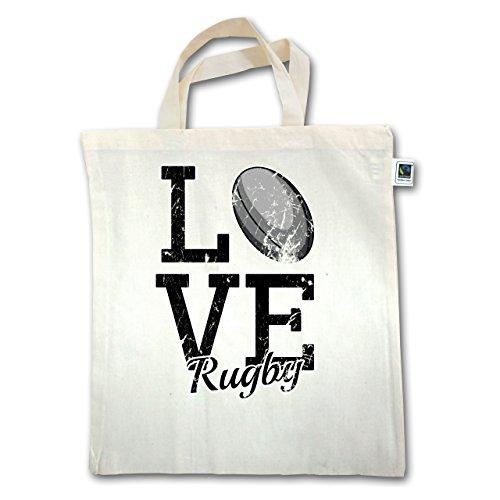 Sonstige Sportarten - Love Rugby - Unisize - Natural - XT500 - Jutebeutel kurzer Henkel