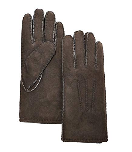 YISEVEN Women's Merino Rugged Sheepskin Shearling Leather Gloves Mittens Sherpa Fur Cuff Thick Wool Lined and Heated Warm for Winter Cold Weather Dress Driving Work Xmas Gifts, Brown ()
