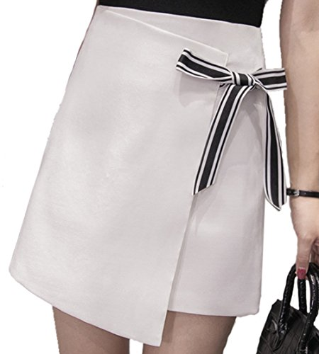 (アイユウガ)I-YUUGA レディース ストレッチ ハイウエストミニスカート ゴルフ GOLFウェア インナーパンツ付き 伸縮性 軽量 通気性スカート リボン 可愛い 黒 白2色