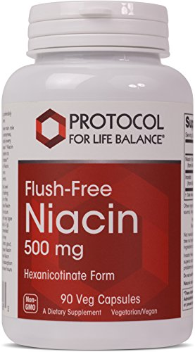 Protocol For Life Balance - Flush-Free Niacin 500 mg - B Vitamin for Improved Energy Production, Metabolism, Stress, Sex, and Emotional Support - 90 Vcaps