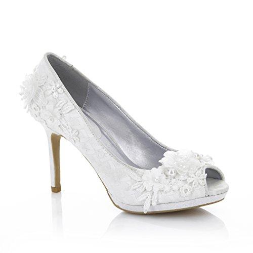 Ruby Shoo Women's Bianca Pearl Detail Peeptoe Shoes Pearl TGFPQb