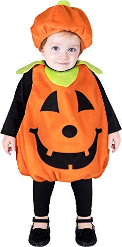 Halloween Costumes - Pumpkin Plush Costume Infant/Toddler Orange & Black (one size up to 24 months) ()