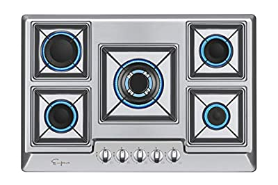 Empava Stainless Steel Gas Professional Italy Sabaf Burners Stove Top Certified with Thermocouple Protection Cooktops, Silver