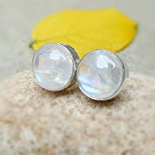 Blue Moonstone Studs Earrings - Women jewelry Earrings - 925 Sterling Silver Rainbow 9mm Round moon stone Earrings.