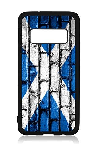 Flag Scotland - Scottish Brick Wall Print Flag Black Rubber Case Cover for The Samsung Galaxy s10e (s10 Edge) - Samsung Galaxy s10e Accessories - Samsung Galaxy s10e Case