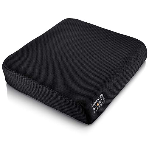 Advanced Growth Fitness – Large Memory Foam Comfort Seat Cushion – Sciatica, Coccyx, Back Tailbone Relief- Easy Carry Handle Non Slip Pad – Great for Office Chair, Wheelchair, Stadium Car Seat