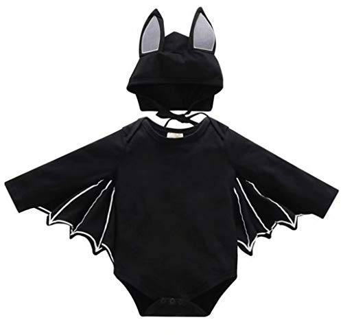 FAYALEQ Baby Boys Girls Halloween Cosplay Costume Bat Romper Long Sleeve Tops Hat Outfit Size 6-12 Months/Tag80 (Black) ()