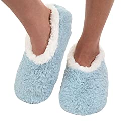 Snoozies Womens Butter Fur Comfy Soft Fleece Slipper Socks - Lt. Blue, Large