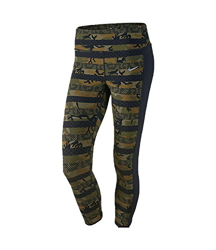 Nike Women's Dri-Fit Clash Epic Lux Running Crop Pants-Militia Green/Black-Small
