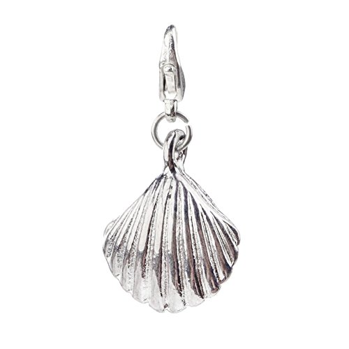 Gorgeous Silver Colored Sea Shell Shaped Clip On Pendant Charm For Bracelets Bangles By VAGA© ()
