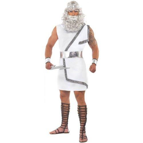 Smiffys Men's Zeus Costume, Toga, Belt, Headband, Arm Cuffs and Lightning Bolt, Legends, Serious Fun, Size M, 26017