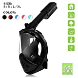 Snorkel Mask Full Face, 180 Degree GoPro Panoramic Snorkeling Diving Mask for Adults, Easy Breath Anti-Fogging Anti-Leak Design Masks with Adjustable Head Straps [2018 Upgrade] (Black, S/M, L/XL)