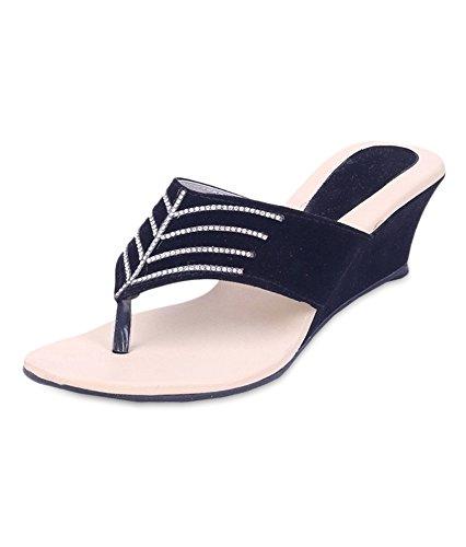 742f135c7e4 Fabme Women s Black Velvet Heel Wedges (WF008BKS3) -43 EU  Buy ...