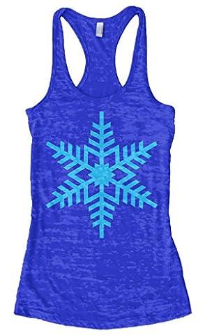 Threadrock Women's Icy Blue Snowflake Burnout Racerback Tank Top M Royal Blue - Top Snowflakes