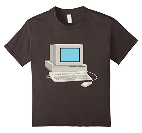 Price comparison product image Kids Antique Computer t-shirt Vintage Desktop Monitor Keyboard 12 Asphalt