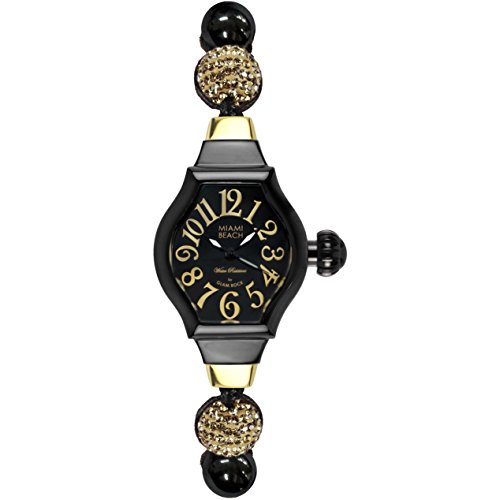 Glam Rock Women's MBD27123 Miami Beach Art Deco Black Dial Black Knotted Cotton with Beads and Synthetic Stones Watch