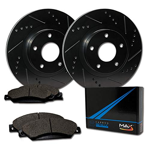 Max Brakes Front Elite Brake Kit [ E-Coated Slotted Drilled Rotors + Metallic Pads ] TA002081 | Fits: 2005 05 2006 06 Chrysler Sebring Sedan Models
