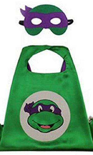 Donatello Ninja Turtle Costumes (Dress Up Comics Cartoon Superhero Costume with Satin Cape and Matching Felt Mask (Ninja Turtles - Donatello))