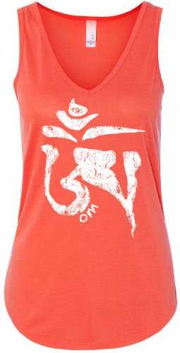 (Yoga Clothing For You Ladies White Tibet OM Flowy Tank Top, 2XL Coral)