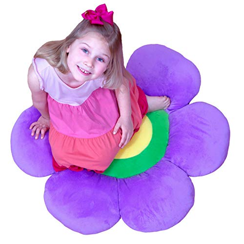 Flower Pillow to be Used as Floor Pillow or Decorative Pillow - Adorable Daisy Flower Shape and Color Purple - Large, Soft and Cozy Pillow for Floor Sitting, Playtents, Girls Bedroom Decor by Floor Bloom (Image #7)