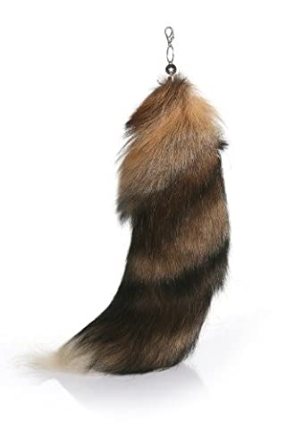 URSFUR Sun Fox Tail with Key Chain Bag Hanging Natural Color 18