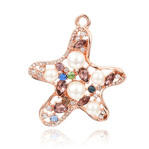Kissity 2pcs Starfish Alloy Pendants with Imitation Austrian Crystal Glass Rhinestone and Glass Pearl 45x39.5x10mm (Starfish Austrian Crystal)