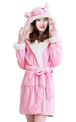 (NEWCOSPLAY Adult Unisex Pink Pig Hooded Bathrobe (S/M, Pink Pig))