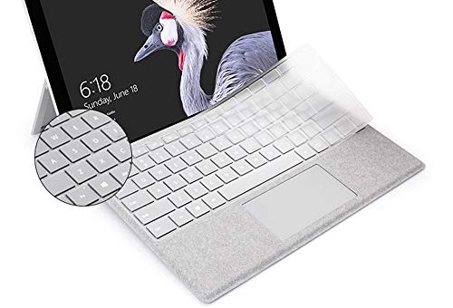 Silicone Clear Keyboard Cover Ultra Thin Skin Compatible 2018 Release Microsoft Surface Pro 6 & 2017 Release Microsoft Surface Pro 5 & Microsoft Surface Pro 4 12.3 inch (not fit Surface Pro 3)
