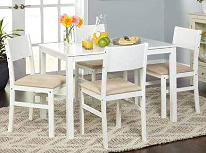 Dinette Sets For Small Spaces-Dinning Room Table Set-Five Piece White Beige Microfiber