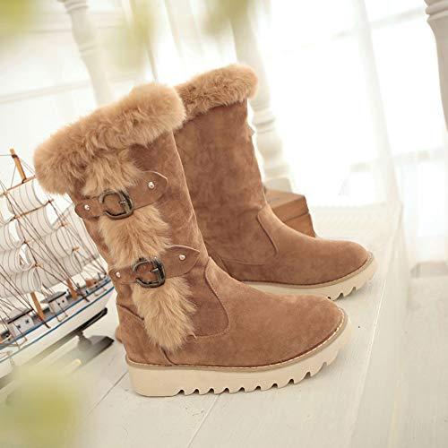 Moda Botitas De Caña Botas Plano Marrón Borreguillo Para Hebilla Nieve Media Ante Mujer Tacón Luckygirls Zapatos 6zgpwXq8q