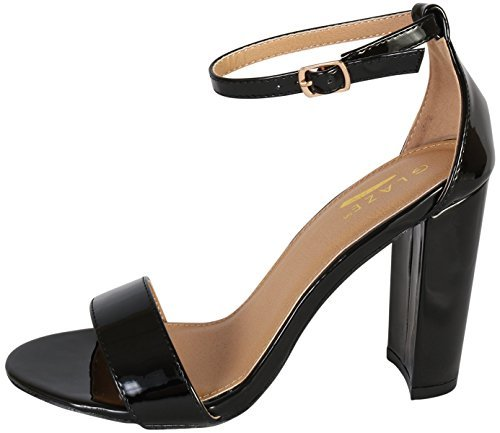 - Glaze Women\'s Chunky Heel Ankle Strap Sandals - Open Toe Strappy Heels, Black Patent, Size 7'