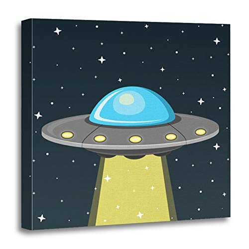 Emvency Canvas Prints Square 12x12 Inches Cartoon UFO Flat Design Space Spaceship Abduction Alien Cosmos Dark Fiction Decoration Wooden Frame Pictures Framed Wall - Pictures Alien
