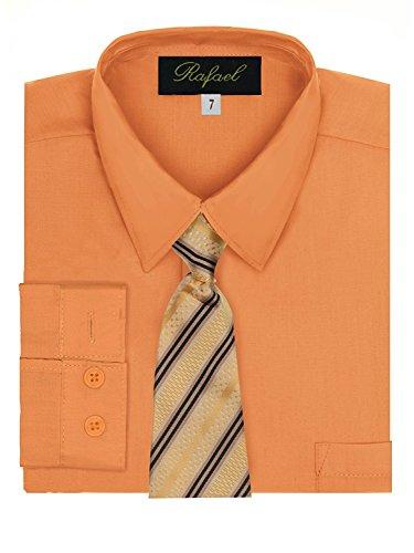 Boy's Dress Shirt & Tie - Pumpkin, 12 -
