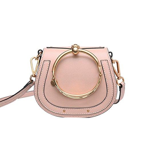 Pink Anneau Rond Femme Gshga À pink Sac En Bracelet Véritable Main Cuir Bandoulière Pour qA8Ox180w