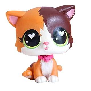 LPSXIE LPS Shorthair Cat Heart Green Eyes 339 Yellow Kitty Kitten Figure Collect Kids Girls Boys Gift