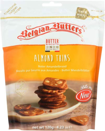 Belgian Butters Cookies Almond Thins Mini 4.23 OZ (Pack of 12)