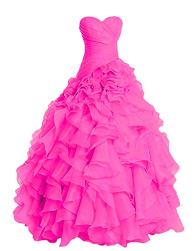 PRTS Ruffles Senza spalline Organza Abiti da ballo Lungo Vestito da sera Quinceanera vestito Rosa caldo