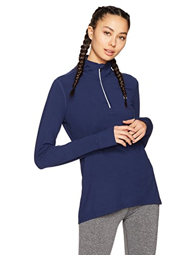 Starter Women's Long Sleeve Half-Zip Top, Amazon Exclusive, Team Navy, Medium