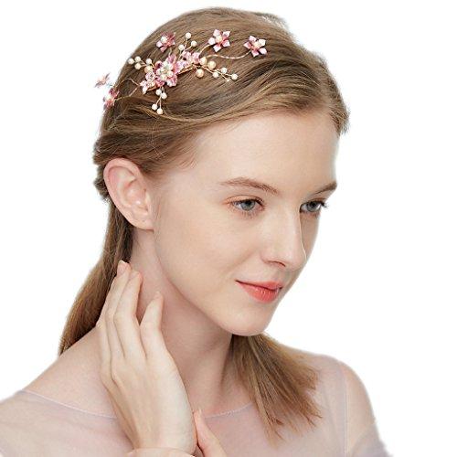 hopewey Wedding flower hair clip headband rhinestone crystal leaf hair band hair accessories headpiece bridal tiara vintage bridal vine headbands HWMJ605 by hopewey