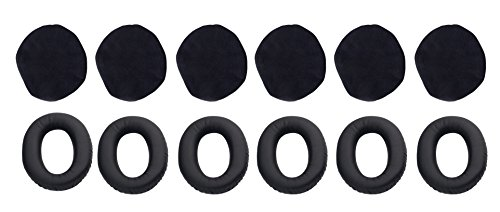6x Replacement Sets of Ear Cushion and Cloth Ear Cover for Bose A20 Headset and other Pilot Aviation Headset (3 Pairs)