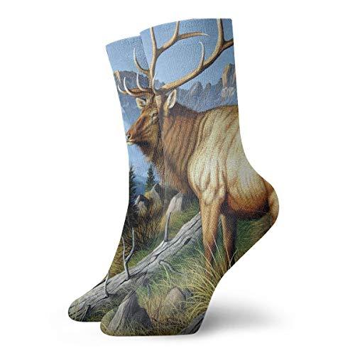 YUANSHAN Socks Wild Deer with Long Horn Women & Men Socks Soccer Sock Sport Tube Stockings Length 11.8Inch ()
