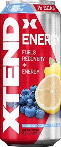 Scivation Xtend Energy On The Go Carbonated Zero Sugar Energy & Recovery Drink, Branched Chain Amino Acids + Caffeine, Bcaas, Blueberry Lemonade, 16 Oz Cans (Pack of 12)