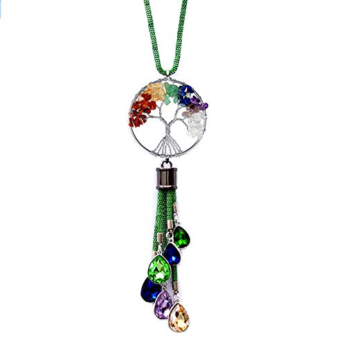 FIANUP Crystal Tree of Life Car Hanging Ornament Decorations Car Rearview Mirror Pendant Accessories Car Charms (Green)