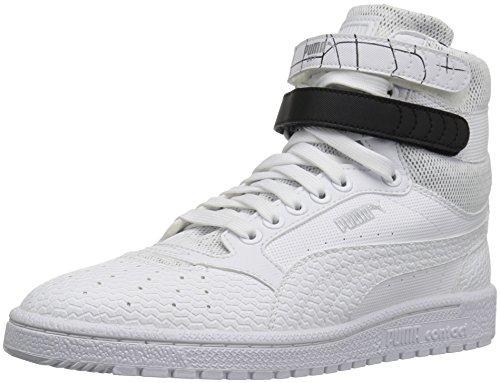 PUMA Women's Sky ii hi sf Texture WN's Basketball Shoe, White Black, 9.5 M US