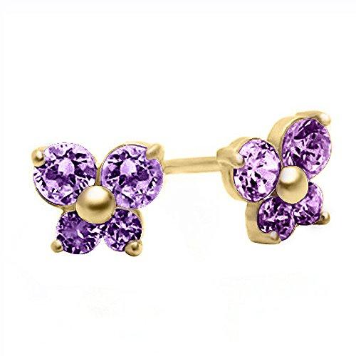 Zirconia Lavender Star Cubic (14K Yellow Gold 5mm Cubic Zirconia Butterfly June Birthstone Stud Screwback Earrings)