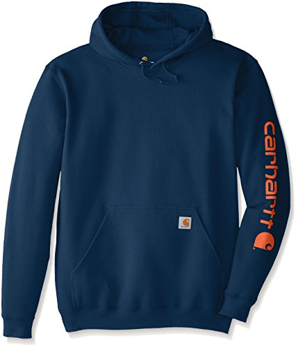Carhartt Men's Big & Tall Midweight Signature Sleeve Logo Sweatshirt Hooded, Superior Blue, Large/Tall Carhartt Midweight Logo Hooded Pullover