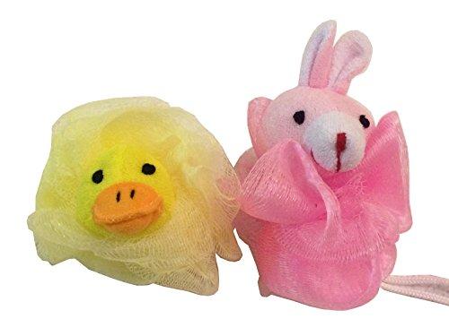 2-Pack of Girls Kids Childrens Stuffed Animal Toy Pouf Mesh Bath Shower Sponge Pink Bunny Yellow ()