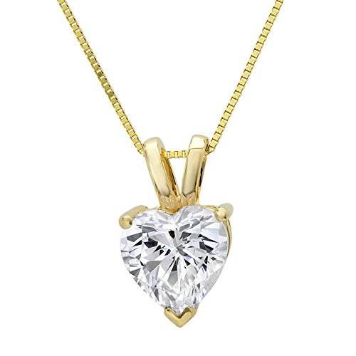 Clara Pucci 0.4 CT Heart Cut Solid 14K Yellow Gold Solitaire Pendant Box Necklace 16